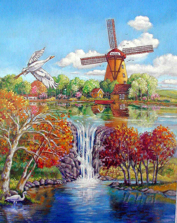 Dutch Windmill Art Print featuring the painting Old Dutch Windmill by John Lautermilch