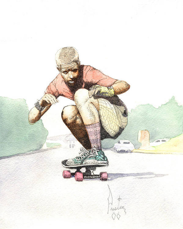 Duane Peters Skateboard Art Old School Nhs Santa Cruz Punk Skater Skateboarder Thrasher Art Print featuring the painting Old School Skater by Preston Shupp