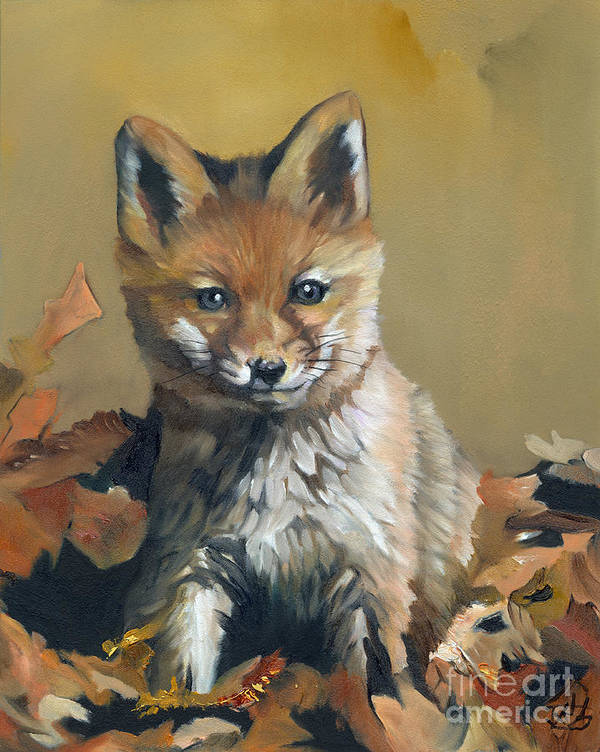 Fox Art Print featuring the painting Once Upon A Time by J W Baker