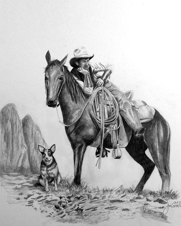 Man And Dog Art Print featuring the drawing Open Range by Joe Costello