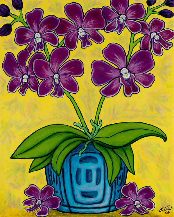 Orchids Art Print featuring the painting Orchid Delight by Lisa Lorenz