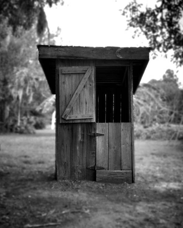 Old Outhouse Art Print featuring the photograph Out House In Black And White by Rebecca Brittain