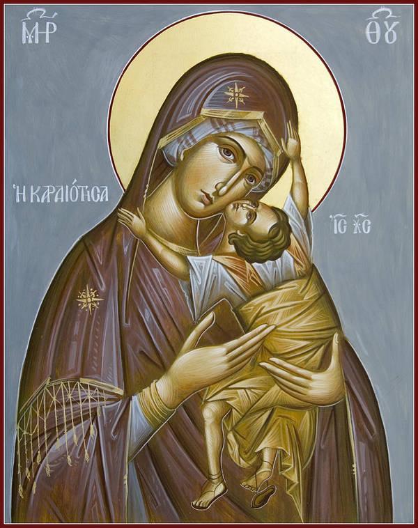 Icon Art Print featuring the painting Panagia Kardiotissa II by Julia Bridget Hayes