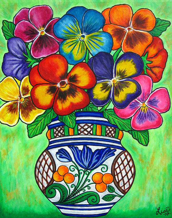 Flower Art Print featuring the painting Pansy Parade by Lisa Lorenz
