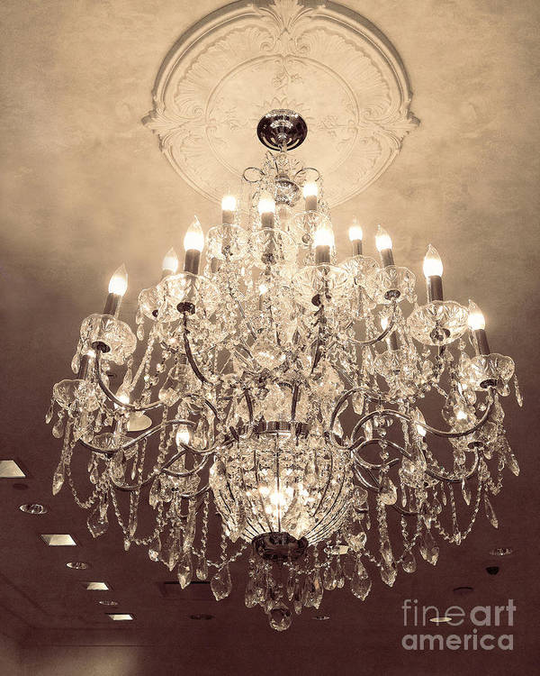 French Chandeliers Art Print featuring the photograph Paris Dreamy Golden Sepia Sparkling Elegant Opulent Chandelier Fine Art by Kathy Fornal
