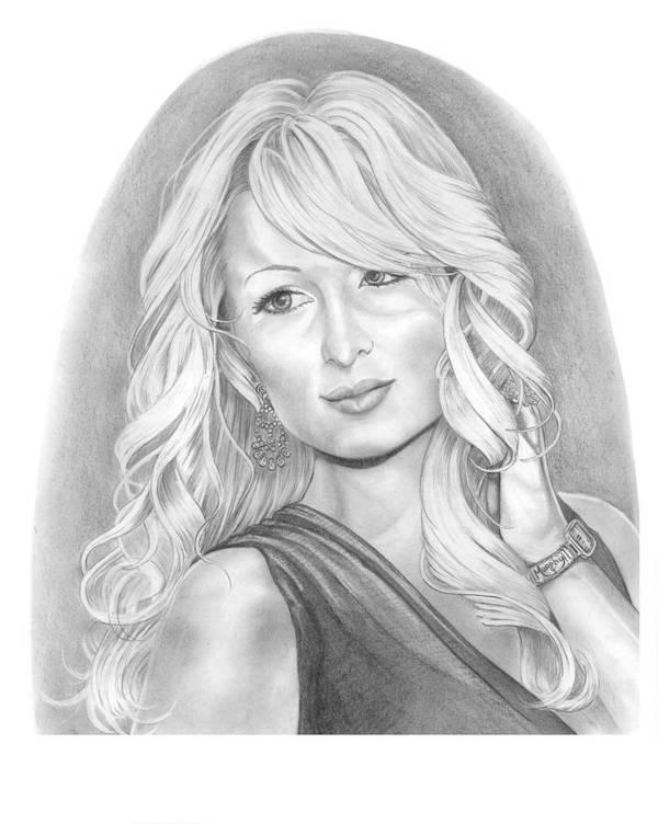 Portrait Art Print featuring the drawing Paris Hilton by Murphy Elliott