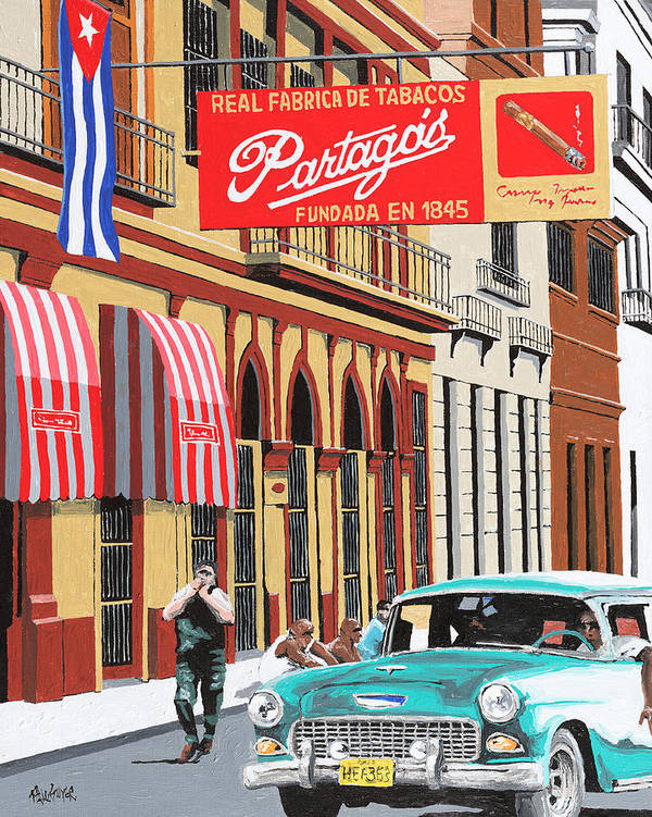 Partagas Cigar Factory Art Print featuring the painting Partagas Cigar Factory Havana Cuba by Miguel G
