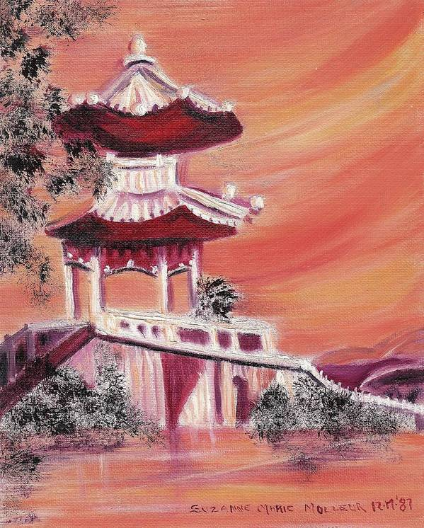 China Art Print featuring the painting Pavillion In China by Suzanne Marie Leclair