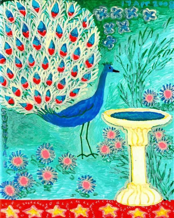 Sue Burgess Print featuring the painting Peacock And Birdbath by Sushila Burgess