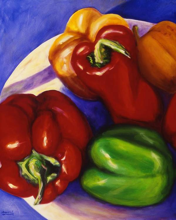 Still Life Peppers Art Print featuring the painting Peppers In The Round by Shannon Grissom
