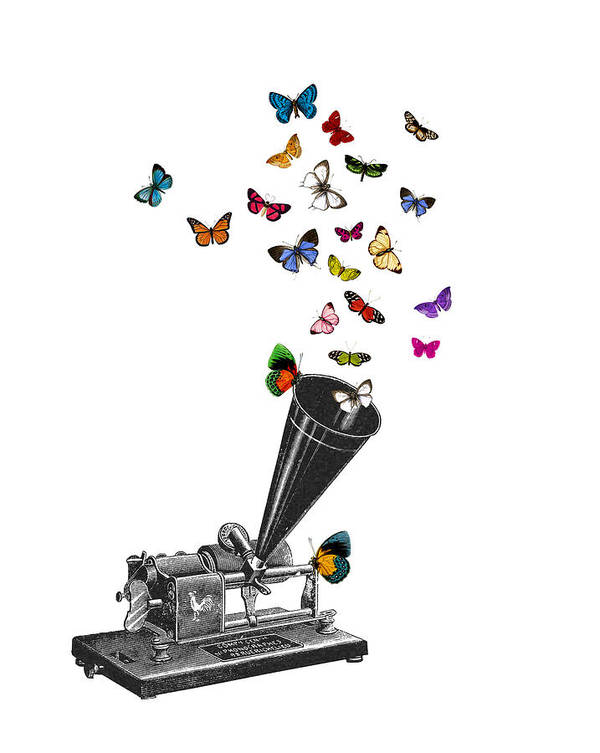 Phonograph Art Print featuring the digital art Phonograph And Butterflies Print by Madame Memento