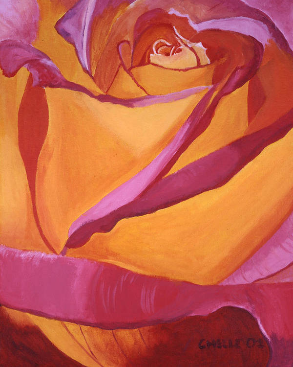 Rose Art Print featuring the painting Pink And Yellow Rose by Chelle Fazal