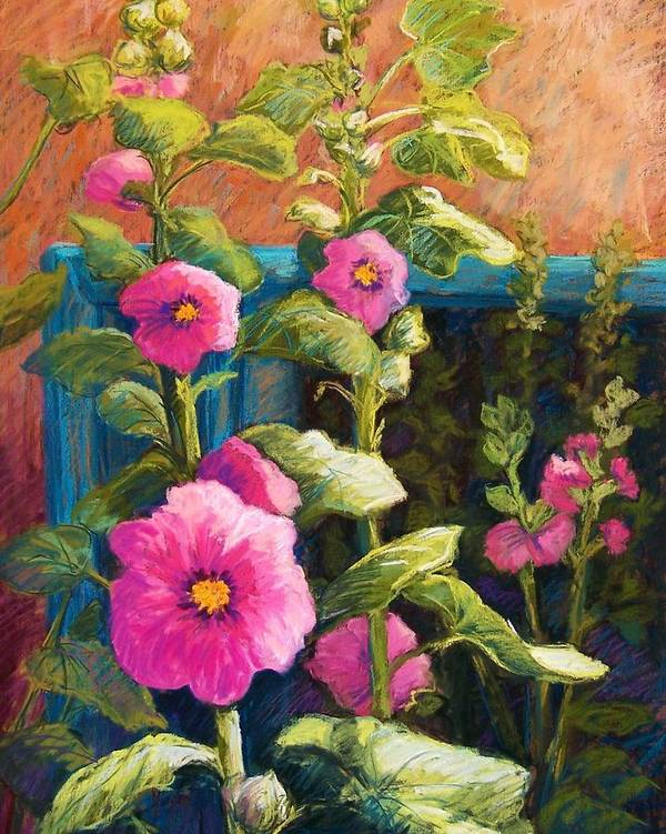Flowers Art Print featuring the pastel Pink Hollyhocks by Candy Mayer