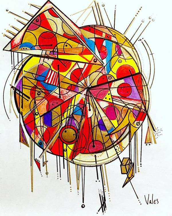 Art Print featuring the drawing Pizza by Jorge Vales