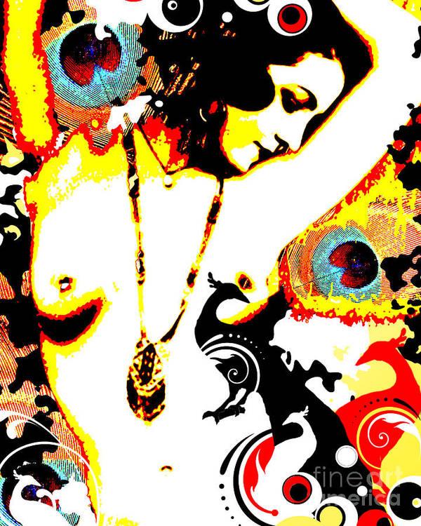 Nostalgic Seduction Art Print featuring the digital art Poetic Peacock by Chris Andruskiewicz