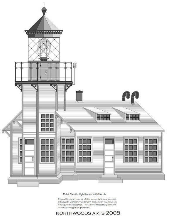 Lighthouse Art Print featuring the painting Point Cabrillo Architectural Drawing by Anne Norskog