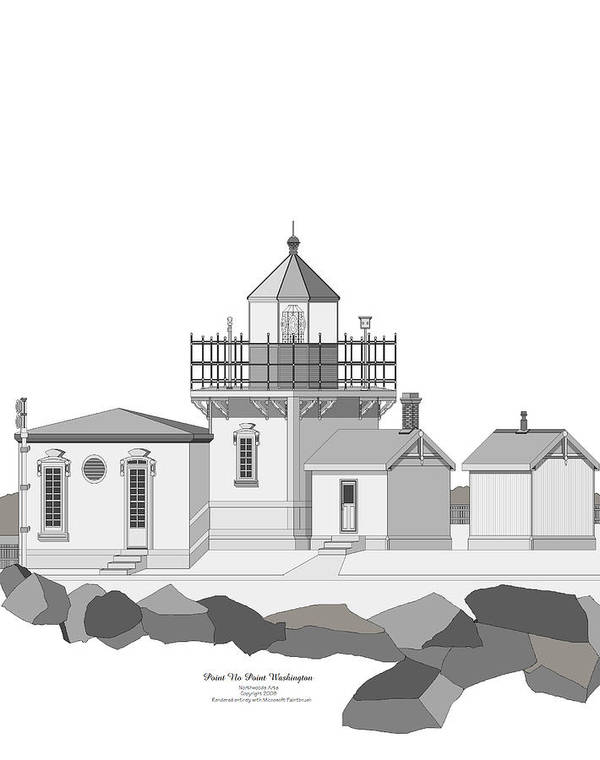 Lighthouse Art Print featuring the painting Point No Point As Architectural Drawing by Anne Norskog