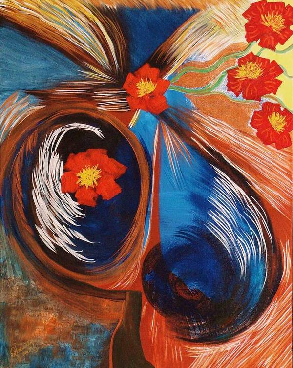 Abstract Art Print featuring the painting Pollunating 1 by Ofelia Uz
