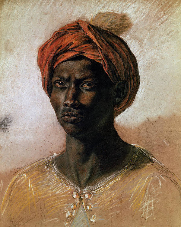 Portrait Print featuring the painting Portrait Of A Turk In A Turban by Ferdinand Victor Eugene Delacroix