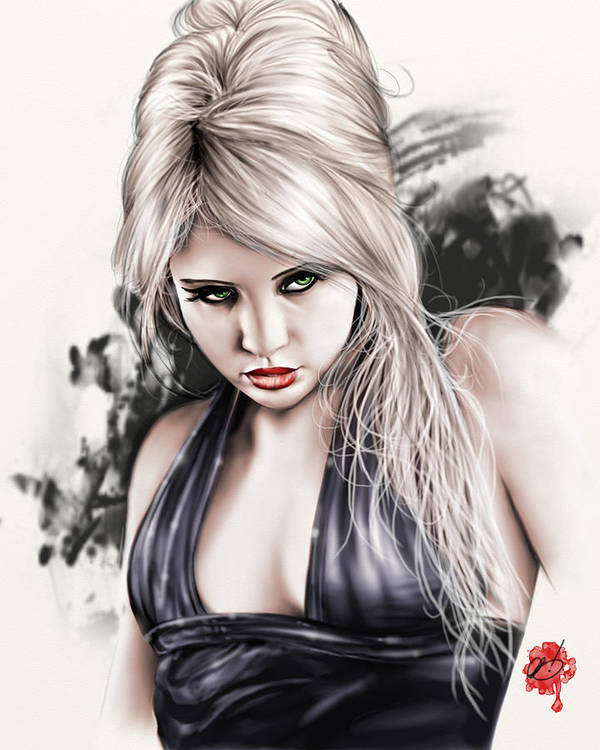 Pete Art Print featuring the painting Portrait Of Miss Mosh by Pete Tapang