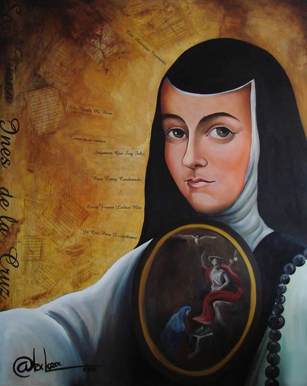 Mexico Art Print featuring the painting Portrait Of Sor Juana Ines De La Cruz by Alex Loza