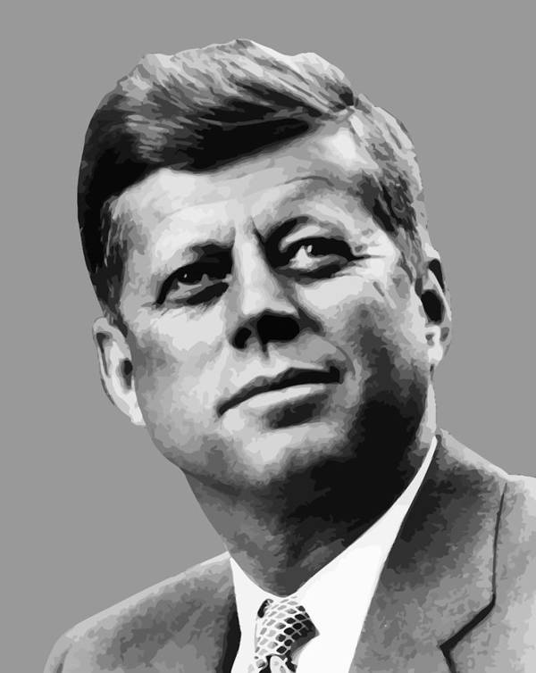 John Kennedy Print featuring the painting President Kennedy by War Is Hell Store