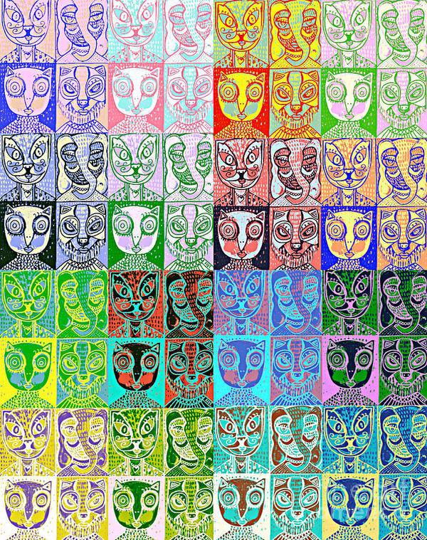 Bobcat Art Print featuring the painting Pretty Kitties Pop Art by Sandra Silberzweig