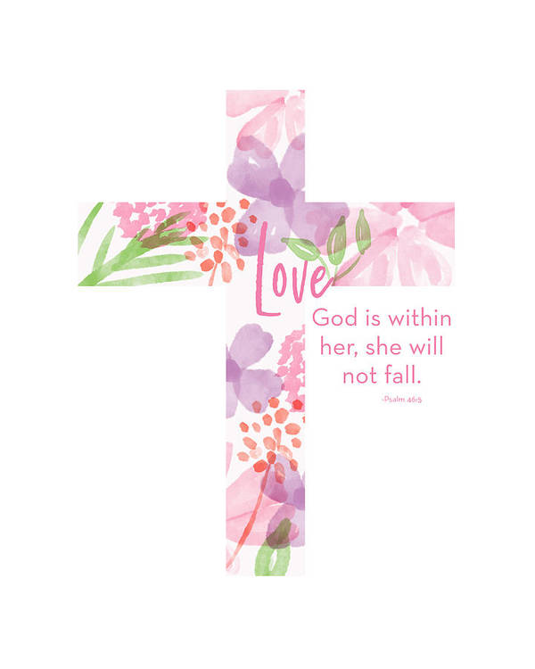Cross Art Print featuring the mixed media Psalm 46 5 Cross- Art By Linda Woods by Linda Woods