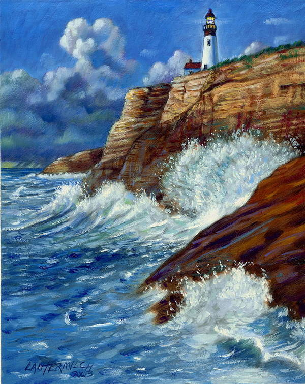 Lighthouse Art Print featuring the painting Psalm Forty Three-three by John Lautermilch