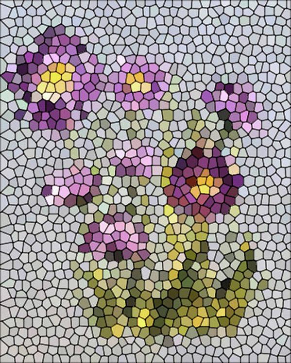 Digital Photo Art Print featuring the digital art Purple Asters II by Barbara Griffin