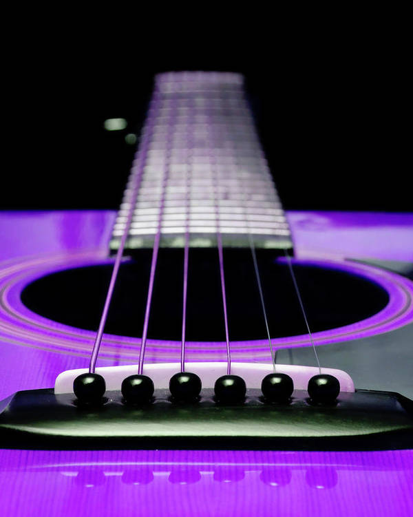 Andee Design Guitar Art Print featuring the photograph Purple Guitar 15 by Andee Design