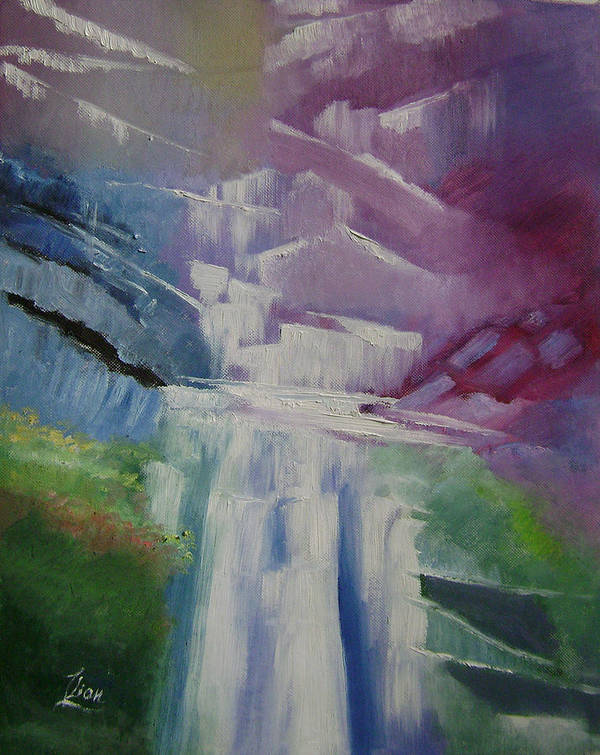 Abstract Art Print featuring the painting Purple Waterfalls by Lian Zhen
