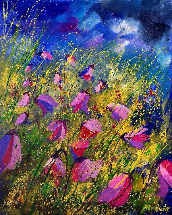 Poppies Art Print featuring the painting Purple Wild Flowers by Pol Ledent