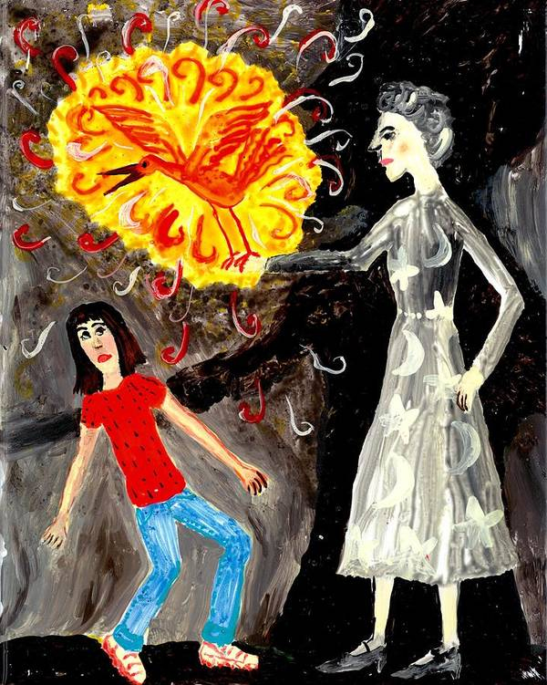 Sue Burgess Print featuring the painting Pyro The Firebird by Sushila Burgess
