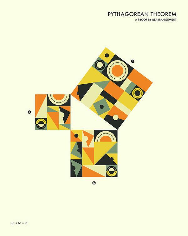 Pythagorean Theorem Art Print featuring the digital art Pythagorean Theorem Proof By Rearrangement by Jazzberry Blue