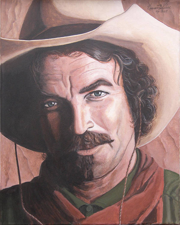 Cowboy Art Print featuring the painting Quigley by Kenneth Kelsoe