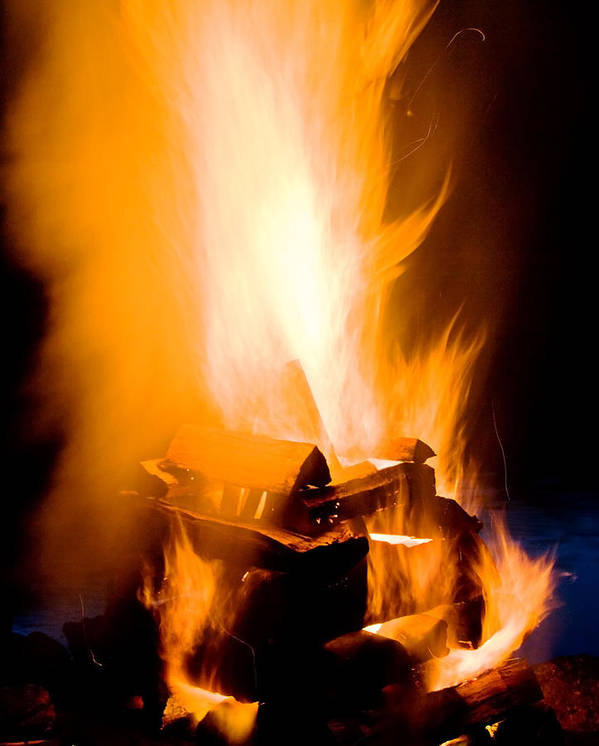 Fire Art Print featuring the photograph Raging Bonfire by Jim DeLillo