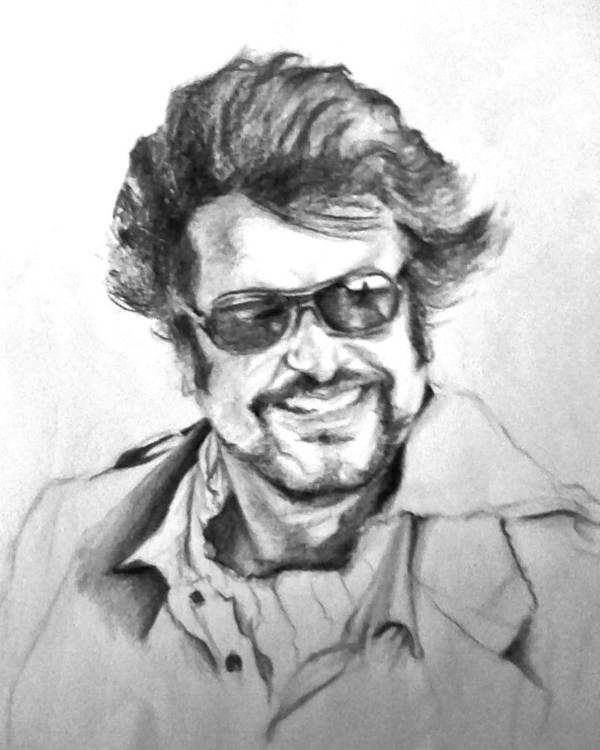 Asia Photograph Superhero Actor Rajnikanth Rajnikant Sketch Canvas Print Framed Print Art Print Acrylic Print Greeting Print Greeting Art Print featuring the drawing Rajnikanth by ilendra Vyas