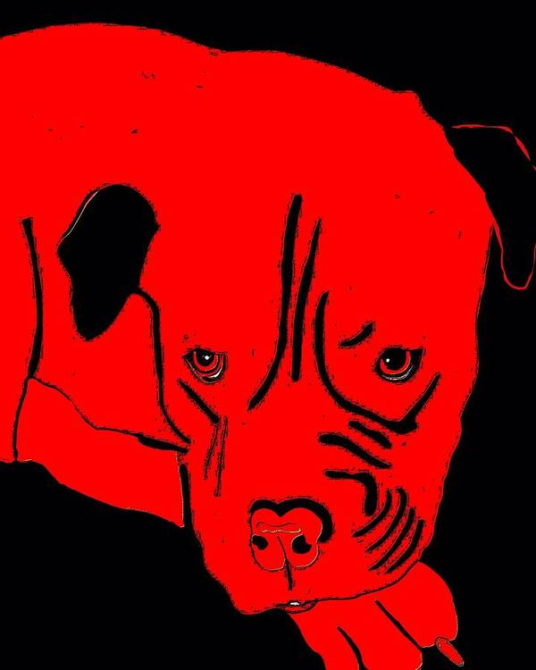 Red Art Print featuring the painting Red Dog by Karen Harding
