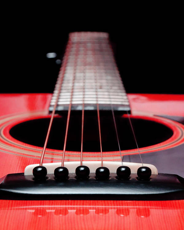 Andee Design Guitar Art Print featuring the photograph Red Guitar 16 by Andee Design
