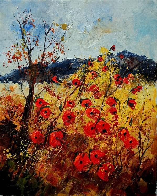 Poppies Art Print featuring the painting Red Poppies In Provence by Pol Ledent