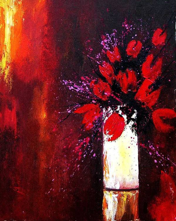 Flowers Art Print featuring the painting Red Tulips by Pol Ledent