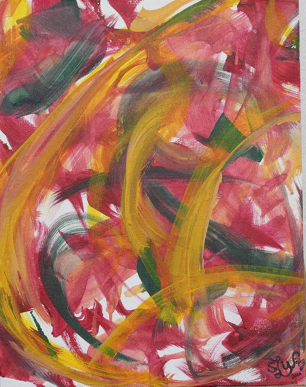 Abstract. Primary Colors Art Print featuring the painting Ribbon Candy by Sandra Winiasz