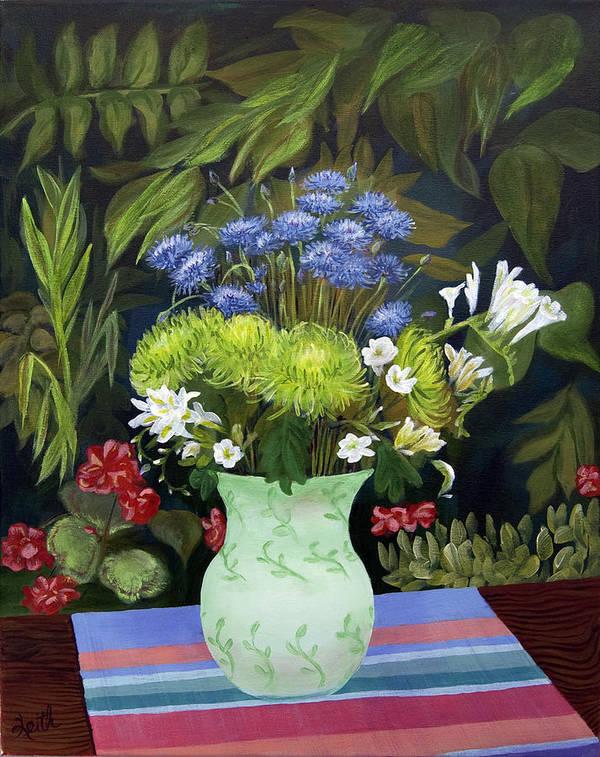 Vase Art Print featuring the painting Ridge Lane Green Vase by Virginia Keith