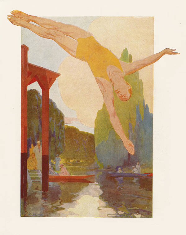 Bridge Art Print featuring the painting River Diver by Rene Lelong