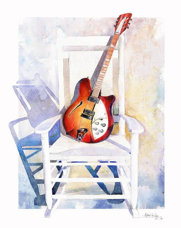 Guitar Print featuring the painting Rock On by Andrew King