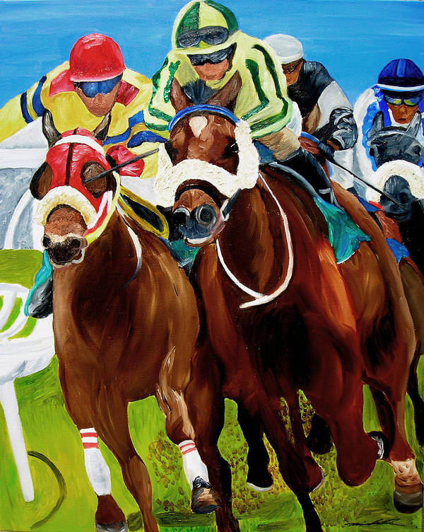 Horse Racing Art Print featuring the painting Rounding The Bend by Michael Lee