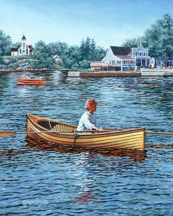 Rockport Art Print featuring the painting Rowing To Rockport by Richard De Wolfe
