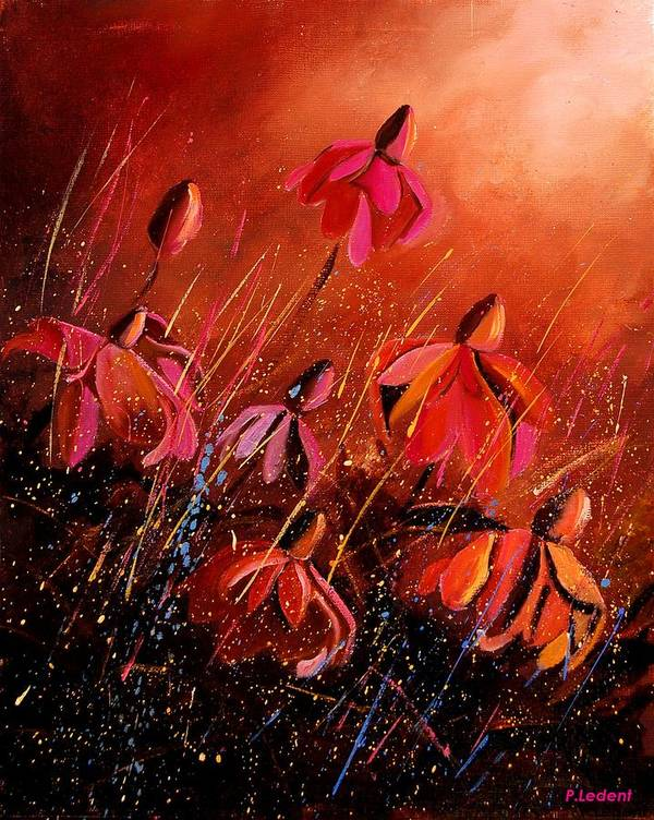 Poppies Art Print featuring the painting Rudbeckia's 45 by Pol Ledent