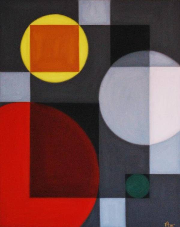 Geometric Abstract Art Print featuring the painting Rush Hour by Varvara Stylidou